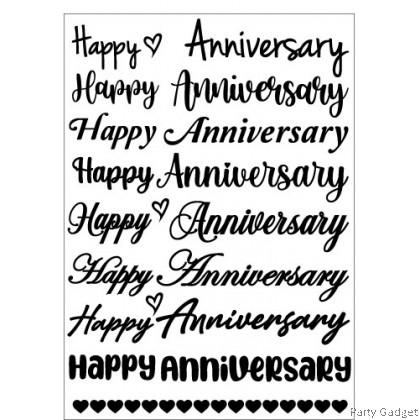 *A4* Balloon Sticker 10 inch 12 inch Bobo Latex Foil Balloon ~ 8 in 1 Happy Anniversary Black Sticker