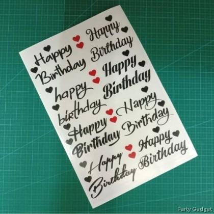 A4 Balloon Sticker | 8 in 1 Happy Birthday Design 1 | Black Balloon Sticker