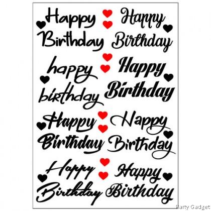 *A4* Balloon Sticker 10 inch 12 inch Bobo Latex Foil Balloon ~ 8 in 1 Happy Birthday Black Sticker
