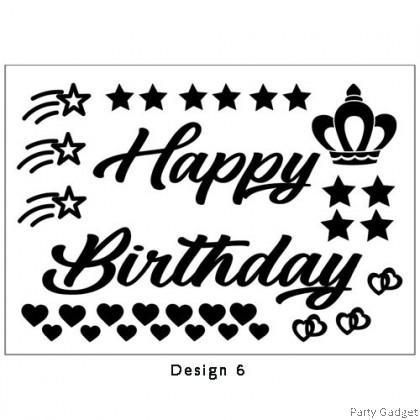 *A4* Balloon Sticker 18 inch 20 inch 24 inch Bobo ~ Happy Birthday Design 6 Black