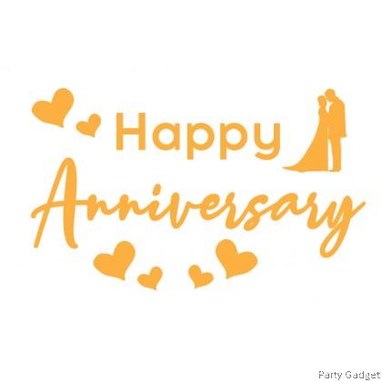 A4 size Balloon Sticker - Happy Anniversary Design 1 - Gold Colour