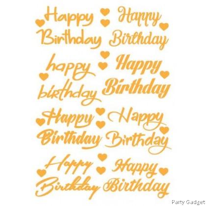 *A4* Balloon Sticker 10 inch 12 inch Bobo Latex Foil Balloon ~ 8 in 1 Happy Birthday Gold Sticker