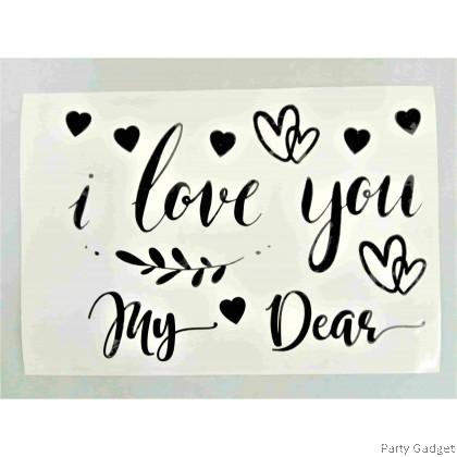 *A4* Balloon Sticker | Love You Design 3 | Black Balloon Sticker