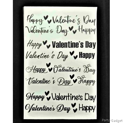 *A4* Balloon Sticker   Happy Valentine's Day 8 in 1 Design 1   Black Balloon Sticker