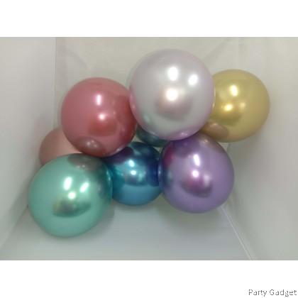 [25pcs] 5 inch Chrome Metallic Silver Small Latex Balloon