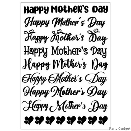 *A4* Balloon Sticker | Happy Mother's Day 8 in 1 Design 1 | Black Balloon Sticker