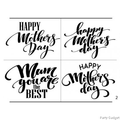 *A4* Balloon Sticker | Happy Mother's Day 4 in 1 Design 2 | Black Balloon Sticker