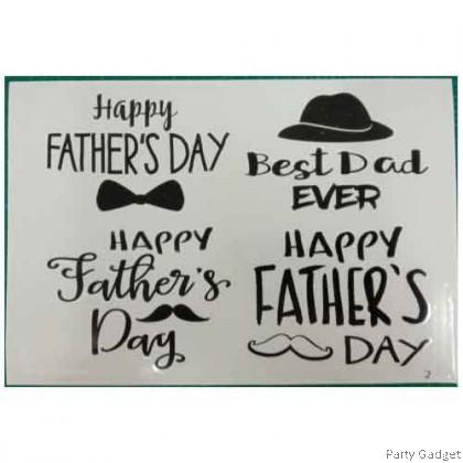*A4* Balloon Sticker | Happy Father's Day 4 in 1 Design 2 | Black Balloon Sticker